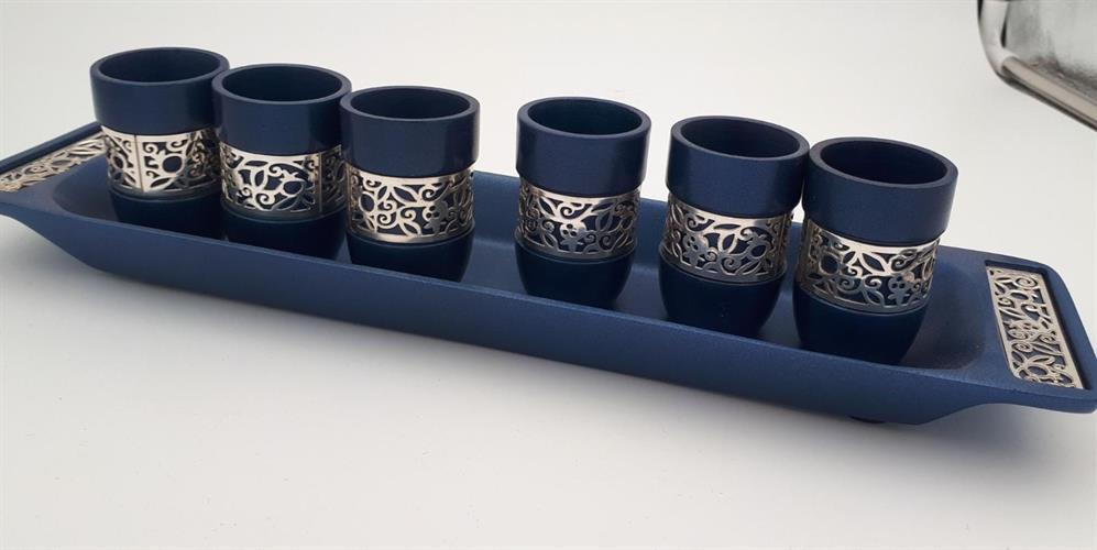 כוסות קידוש ומגש תואם כחול מגזרת רימונים