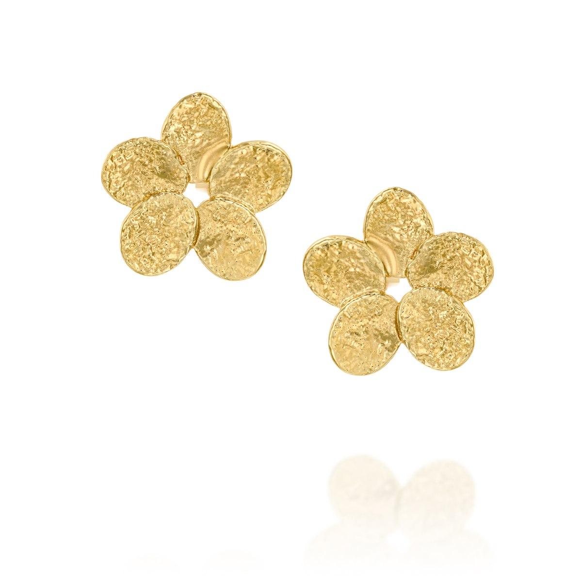 עגיל צמוד ציפוי זהב פרח