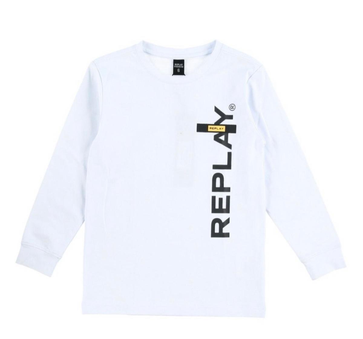 Replay טישרט לבנה שרוול ארוך לוגו צהוב מידות 4-16