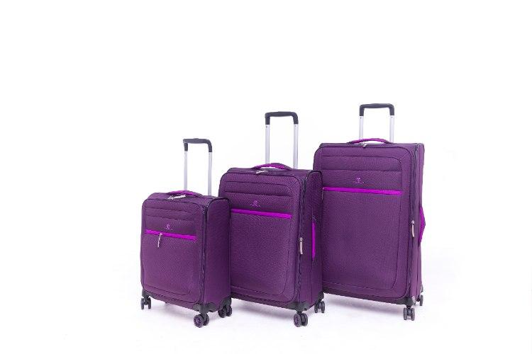 סט 3 מזוודות בד קלות במיוחד וסופר איכותיות TESLA - צבע סגול