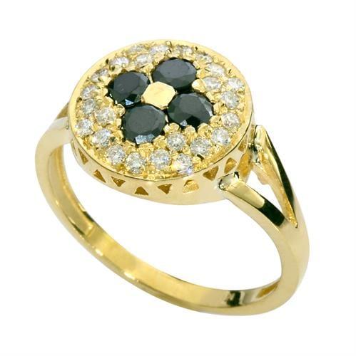 טבעת זהב 14K משובצת יהלומים שחורים ולבנים 0.75 קראט