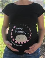 חולצת הריון baby loading תינוק ממתין בצבע שחור