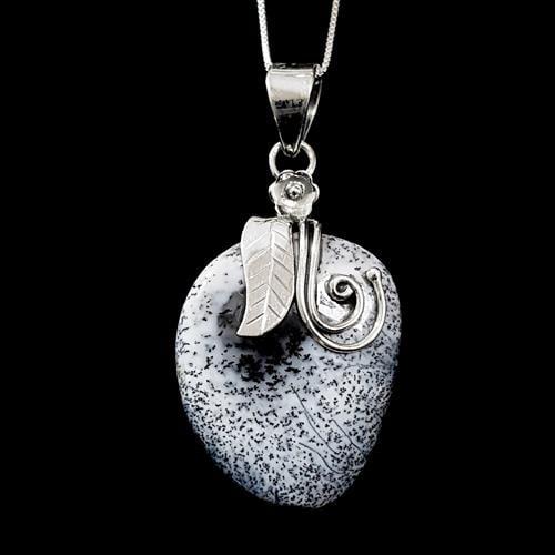 תליון כסף משובץ אבן אופאל דנדריטי T5822 | תכשיטי כסף 925 | שרשרת כסף