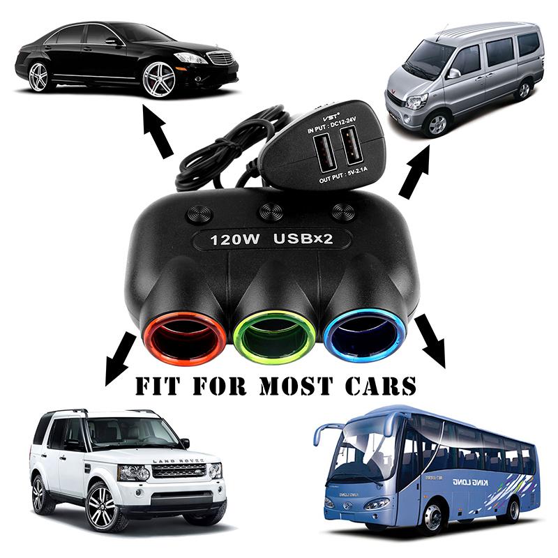 מפצל מקצועי לרכב עם 3 שקעים 120v לרכב + 2 כניסות USB לרכב