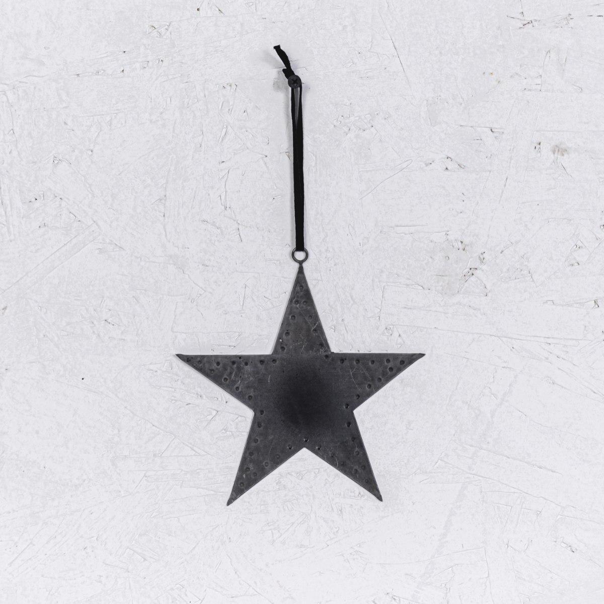 כוכב שטוח ממתכת - כסוף מושחר (גודל L)