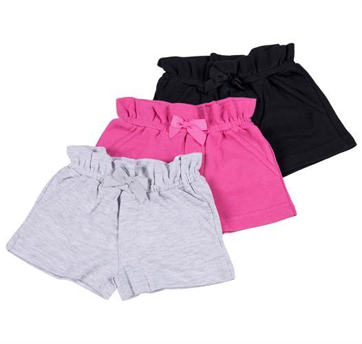 שלישיית מכנסיים 4453 שחור - אפור מלאנג' - פוקסיה
