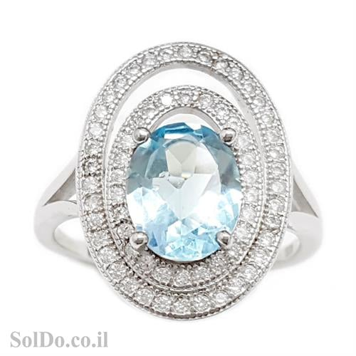 טבעת מכסף משובצת אבן טופז כחולה  וזרקונים RG5984 | תכשיטי כסף 925 | טבעות כסף