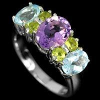 טבעת כסף משובצת אמטיסט סגול, טופז כחול ופרידות RG3310