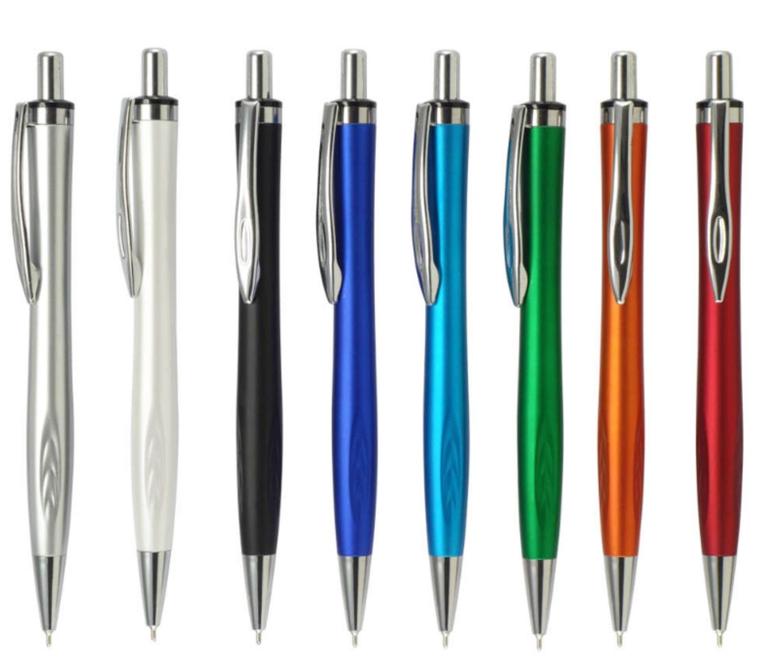 100 עטי ג'ל צבעוניים קליפס מתכת - ללא מיתוג