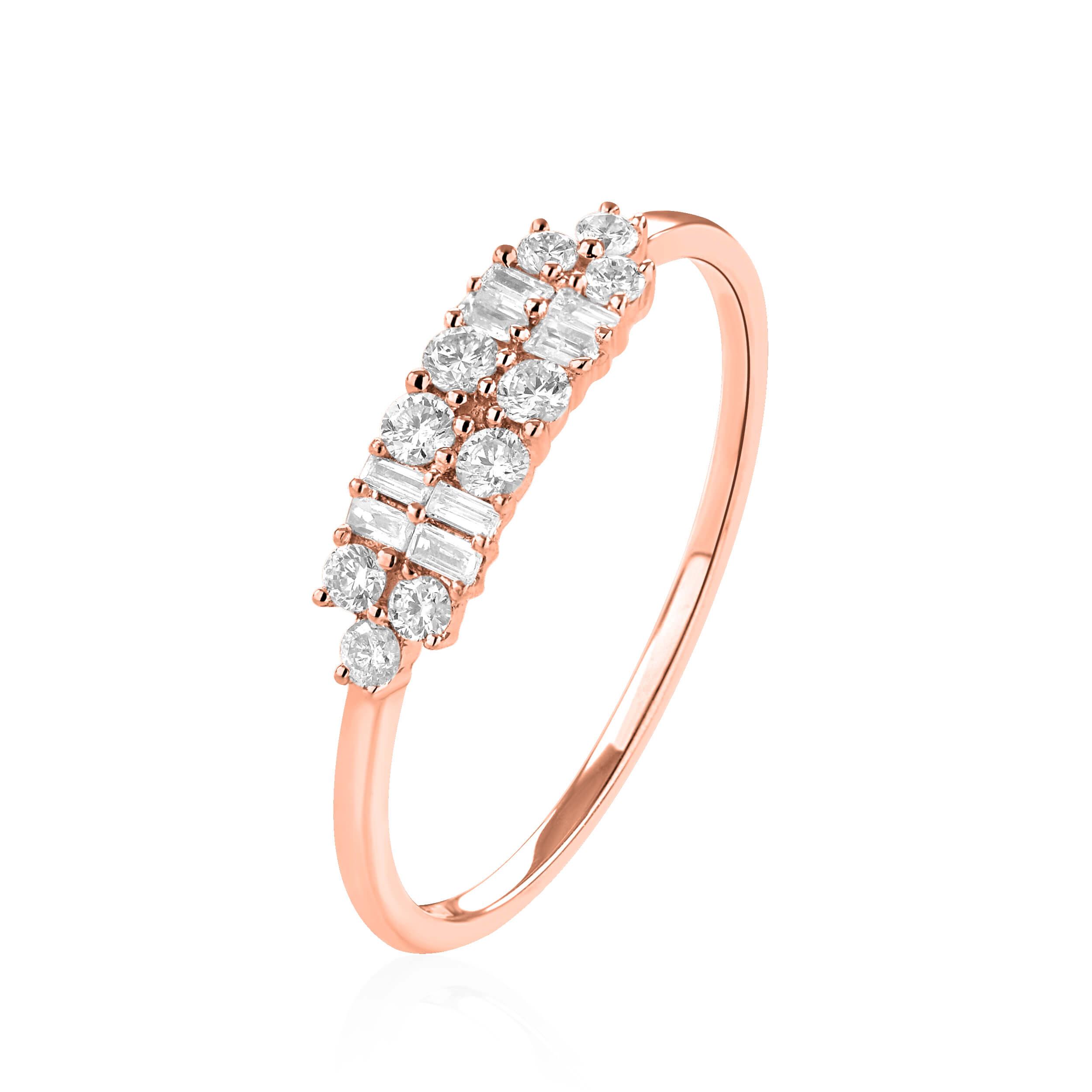 בלתי רגיל טבעת יהלומים זהב אדום 14 קראט - טבעות יהלומים BJ-75