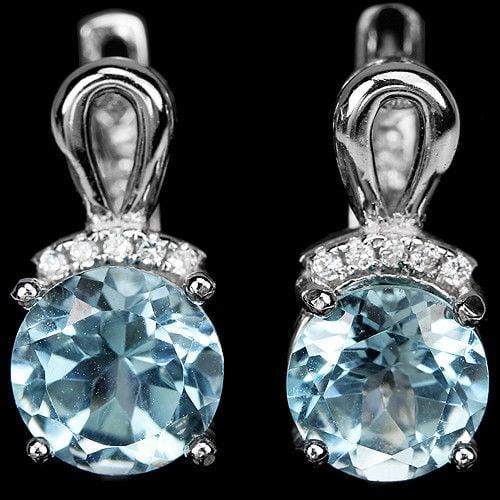 עגילי כסף משובצים טופז כחול וזרקונים A8355 | תכשיטי כסף 925 | עגילי כסף