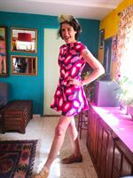 שמלת כותנה מיני בהדפס מדליק מידה M/L