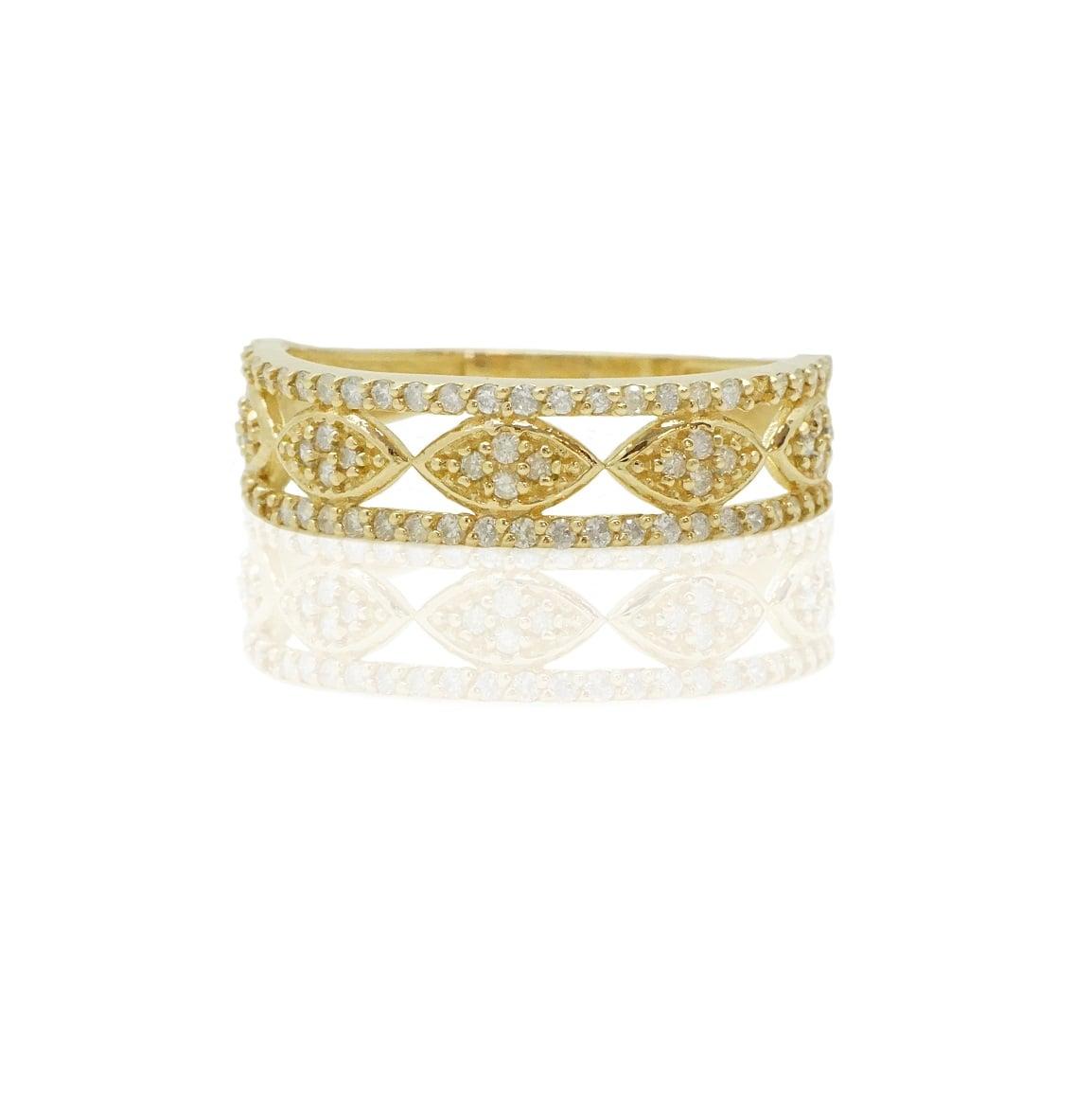 טבעת פאווה מרקיזה מזהב ויהלומים
