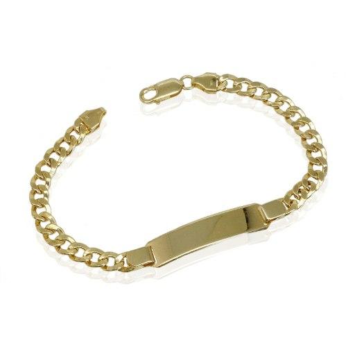 צמיד זהב צהוב 14 קרט חוליות לגבר עם פלטת חריטה