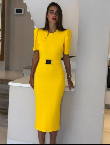 שמלה צהובה מקסי NATALY SHEVULLY
