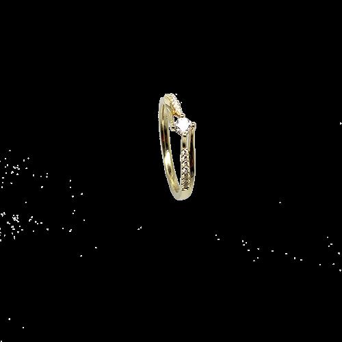 טבעת אירוסין זהב צהוב 14K יהלום מרכזי ויהלומים קטנים MY09160133410