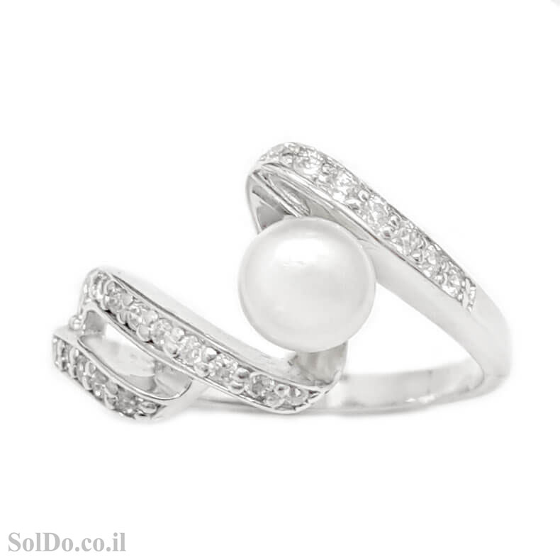 טבעת מכסף משובצת פנינה לבנה וזרקונים RG1636 | תכשיטי כסף 925 | טבעות עם פנינה