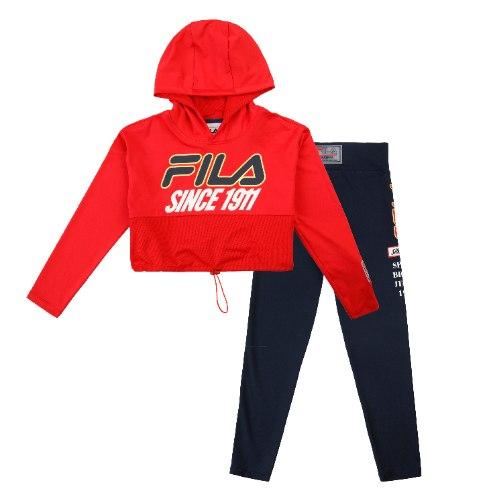 חליפת קפוצ׳ון וטייץ שחור/אדום FILA - מידות 6-16