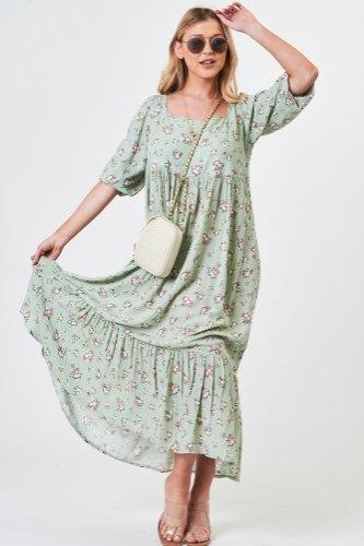 שמלת וולן  מידי מיה ירוקה