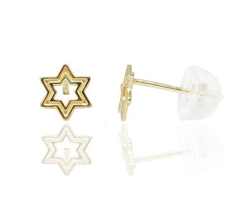 עגילי זהב צהוב מגן דוד מיוחדים