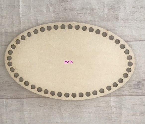 תחתית בסיס עץ  לסריגת סלסלה בחוטי טריקו צורת אליפסה גודל בינוני