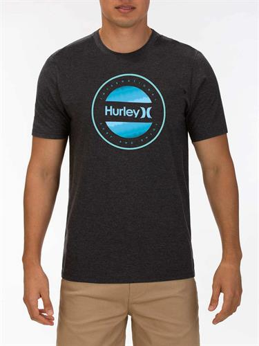 HURLEY  CIRCLE DYE LOGO T-SHIRT- BLACK HTR