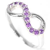 טבעת כסף אינפיניטי אין סוף משובצת אבני אמטיסט סגולה  RG5728 | תכשיטי כסף 925 | טבעות כסף