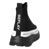 REPLAY מגף שחור גרב לוגו לבן מידות 21-35