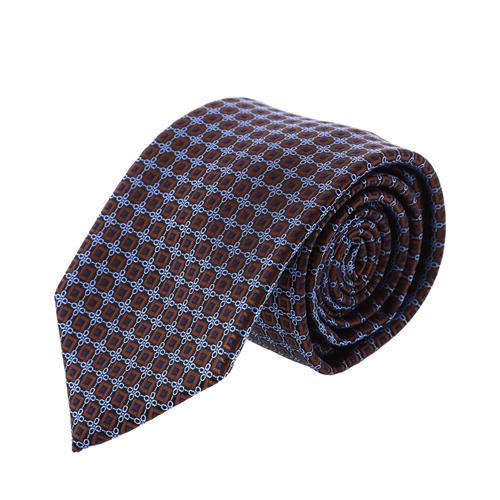 עניבה קלאסית ריבועים חום תכלת