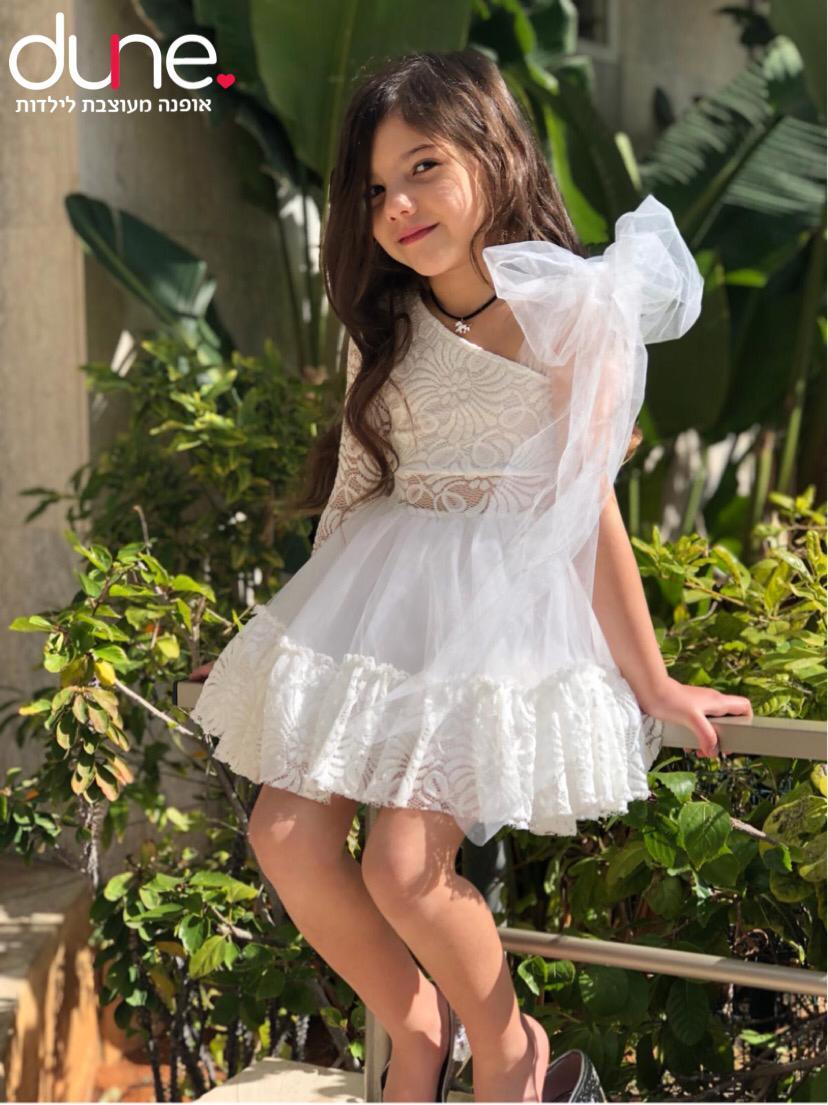 שמלת שושבינה שילוב טול צד