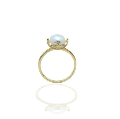 טבעת פנינה ויהלומים בסגנון וינטאג' בזהב