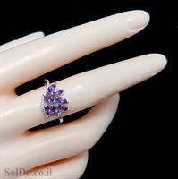 טבעת כסף משובצת אבני אמטיסט וזרקונים RG1664 | תכשיטי כסף 925 | טבעות כסף