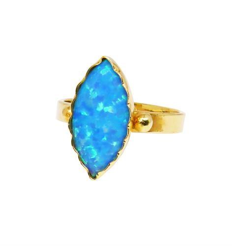 טבעת אופל מרקיזה בזהב 14 קאראט