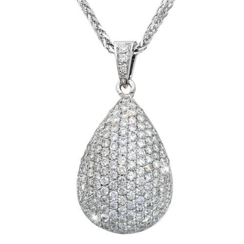 תליון משובץ יהלומים בצורת טיפה שיבוץ פאוה יהלומים 2.40 קראט בזהב 14 קרט