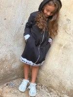 שמלת פרנץ טרי רוכסן שחור