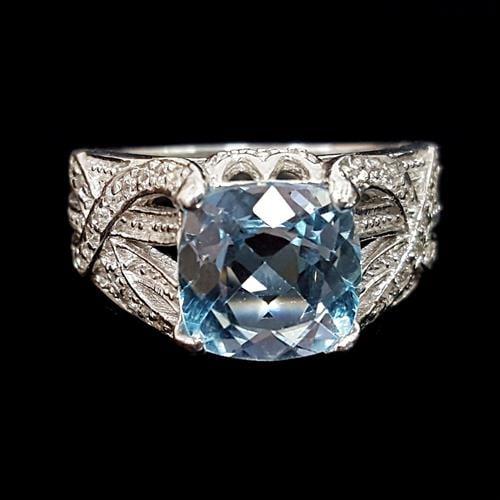 טבעת כסף משובצת טופז כחול ואבני זרקון לבנות RG2430 | תכשיטי כסף 925