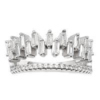 טבעת כסף משובצת אבני זרקון בצורת בגטים  RG5953 | תכשיטי כסף | טבעות כסף