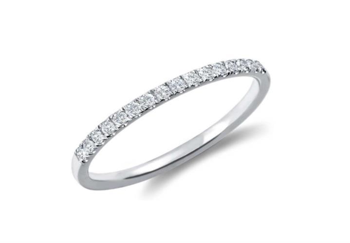 טבעת איטרניטי טבעת אמצע משלימה בזהב 14K משובצת יהלומים 0.20 קראט