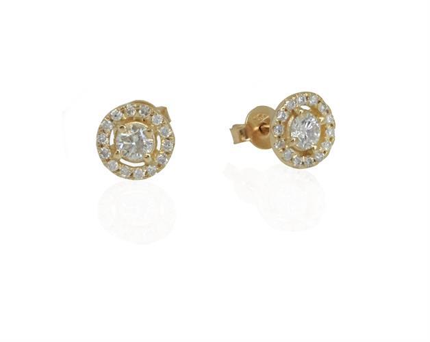 עגילי יהלום צמודים │עגילי יהלומים בסגנון היילו 0.60 קראט