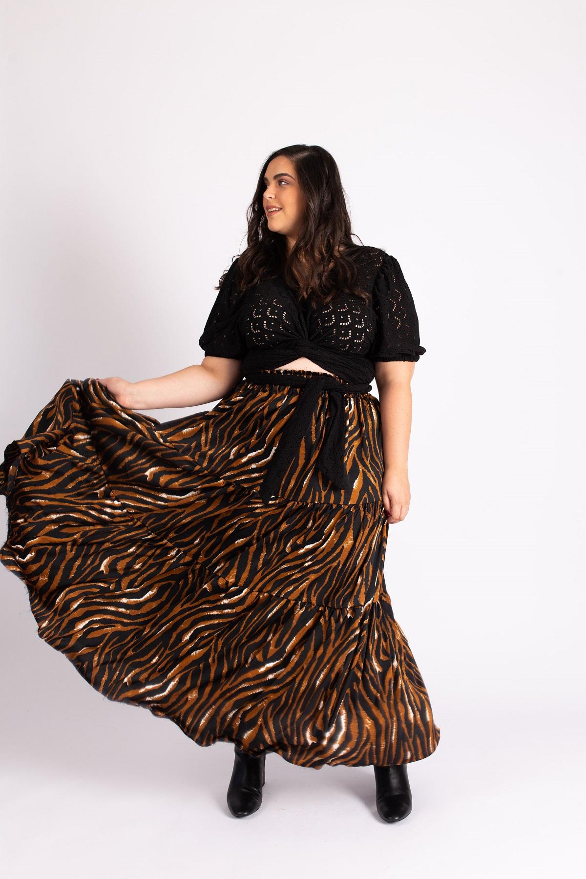 חצאית גולדי זברה חום
