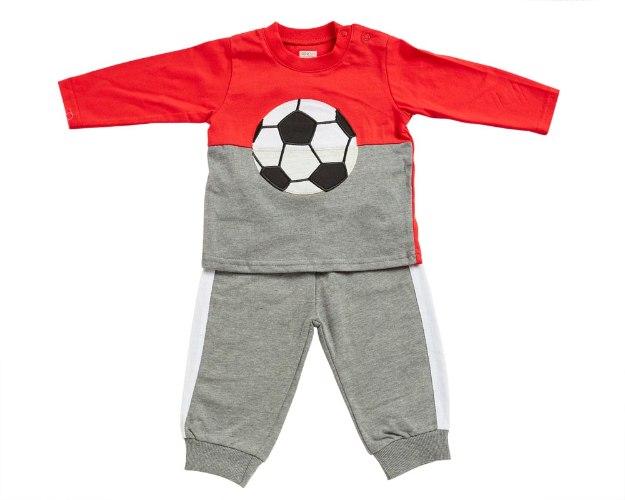 חליפת מעבר כדורגל אדום-אפור מלאנג' מכנס פרנצ׳ טרי