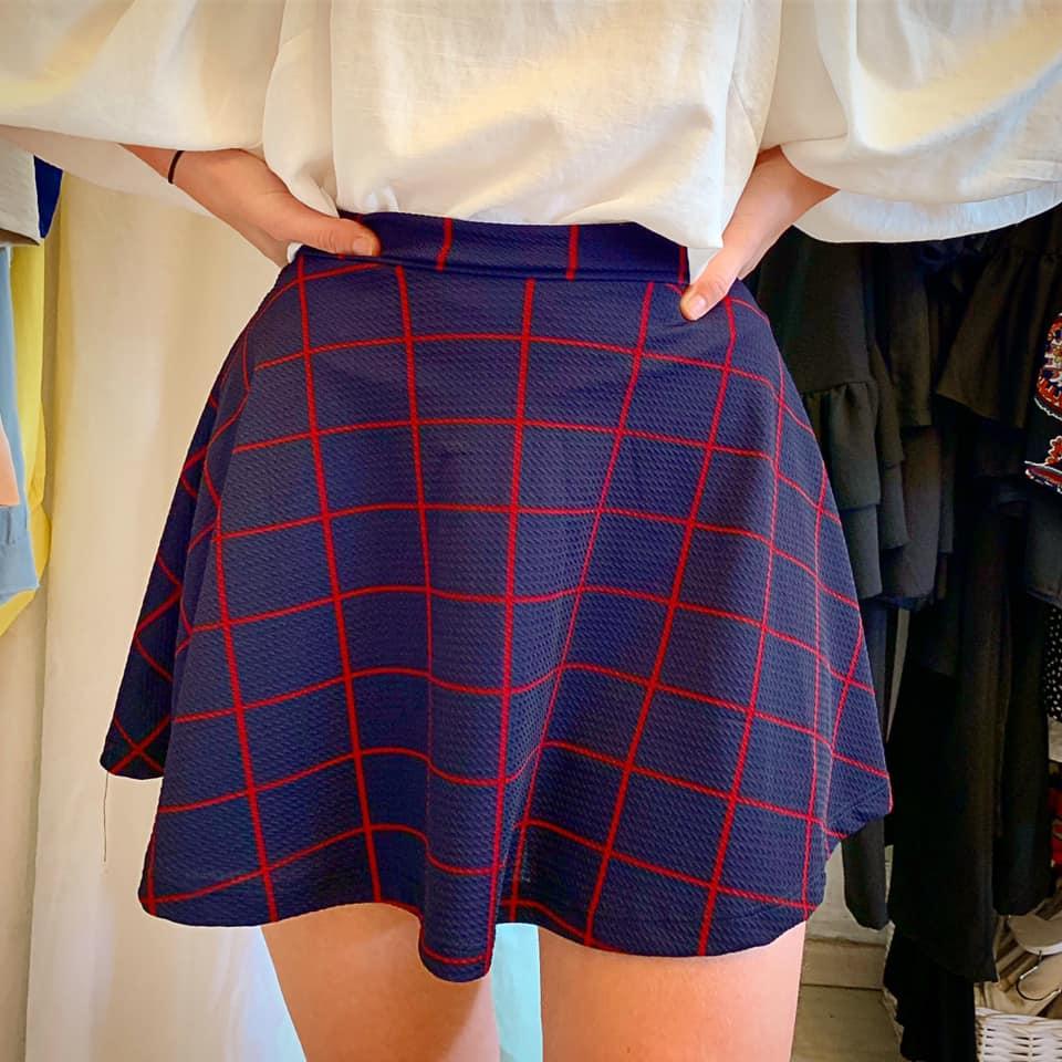 חצאית קלוש  סיס - כחול/בורדו
