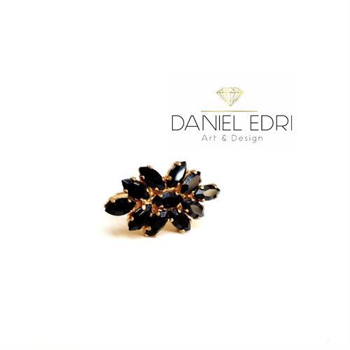 טבעת זיקוק שחורה- כסף/זהב