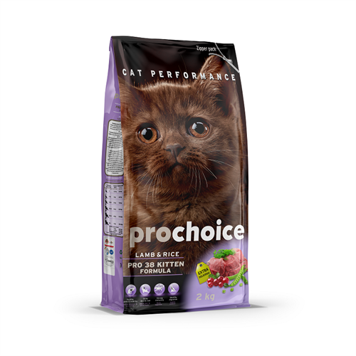 """פרוצ'וייס מזון יבש לחתולים גורים כבש ואורז 2 ק""""ג Prochoice פרו צ'ויס"""