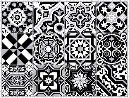 """מדבקות אריחים 15*15 ס""""מ אקלקטי שחור לבן  TIVA DESIGN"""