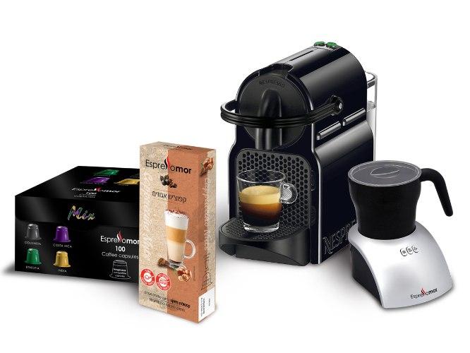 מכונת נספרסו איניסיה + מקציף חלב וואן טאצ' + 100 קפסולות קפה מיקס + 10 קפסולות קפוצ'ינו אגוזים