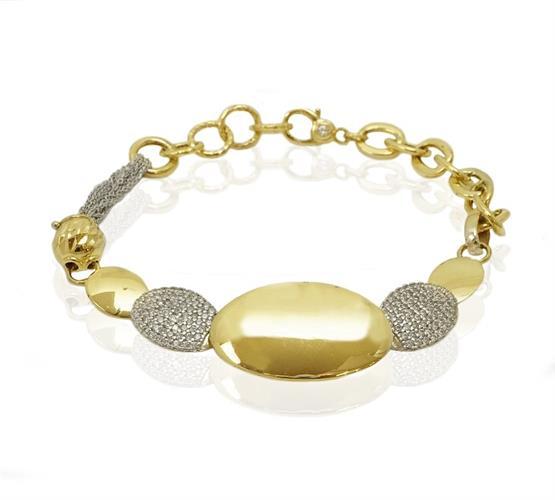 צמיד זהב משולב צהוב ולבן לאישה