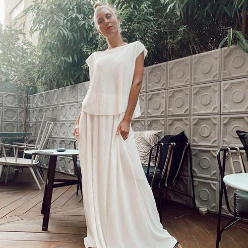 חצאית פליסה לייקרה לבנה