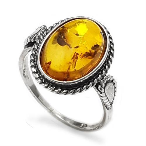 טבעת מכסף בשיבוץ ענבר צבע דבש RG5921 | תכשיטי כסף 925 | טבעות כסף