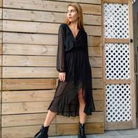 שמלת מעטפת - שחור לורקס
